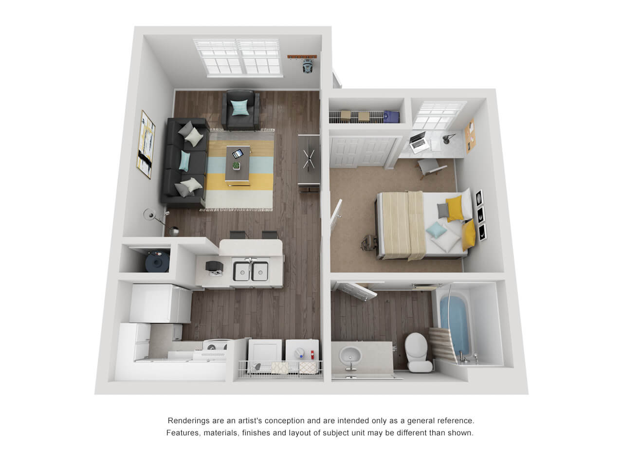 1 bedroom 1 bathroom layout with living and kitchen on left and balcony, bedroom, and bathroom on right.