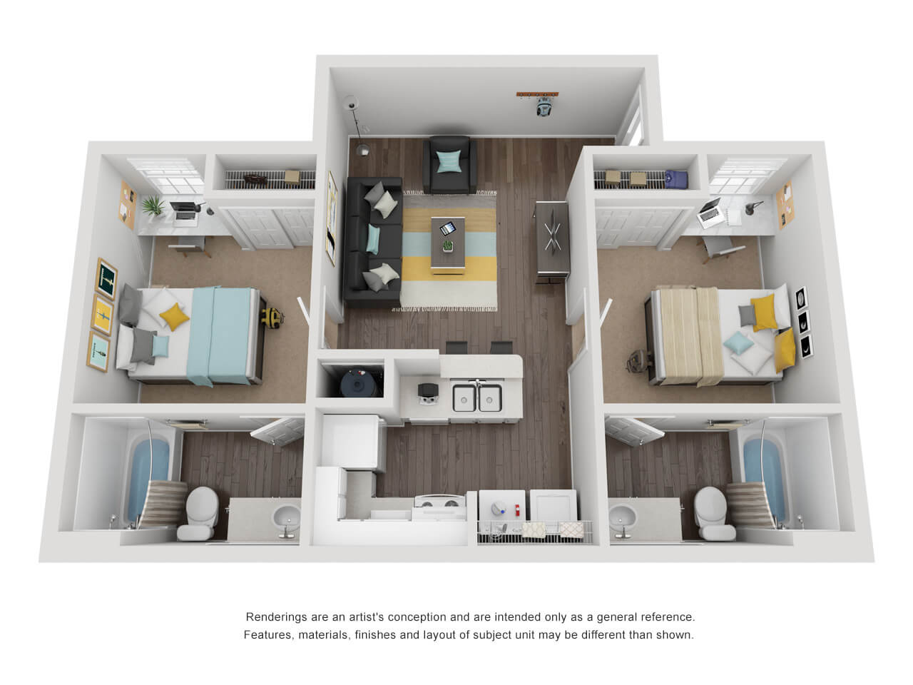 2 bedroom 2 bathroom layout with living and kitchen in the middle and bedrooms with bathrooms on the left and right..