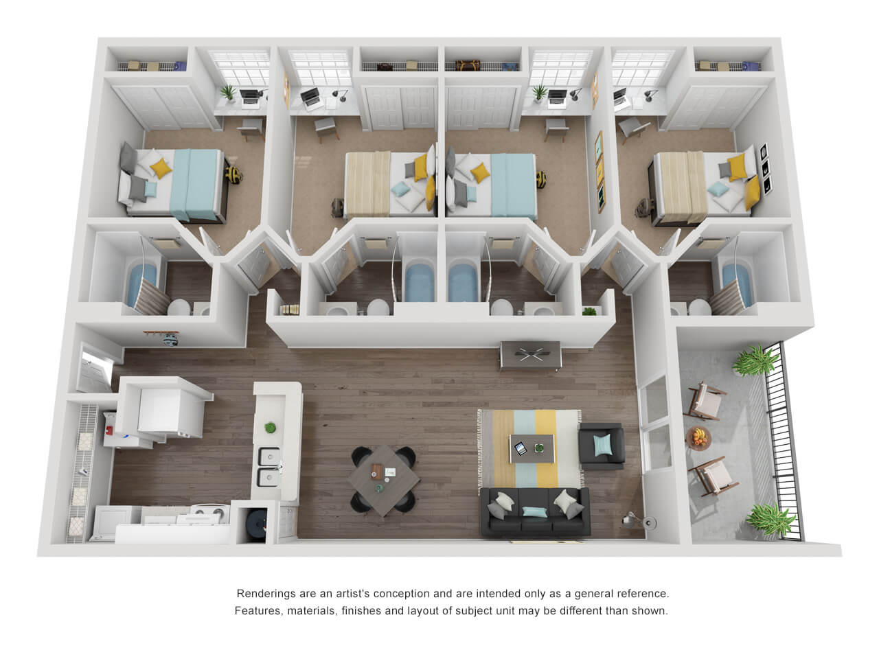 4 bed, 4 bath layout with kitchen, living and balcony on the left, and bedrooms with bathrooms in a column on the right.